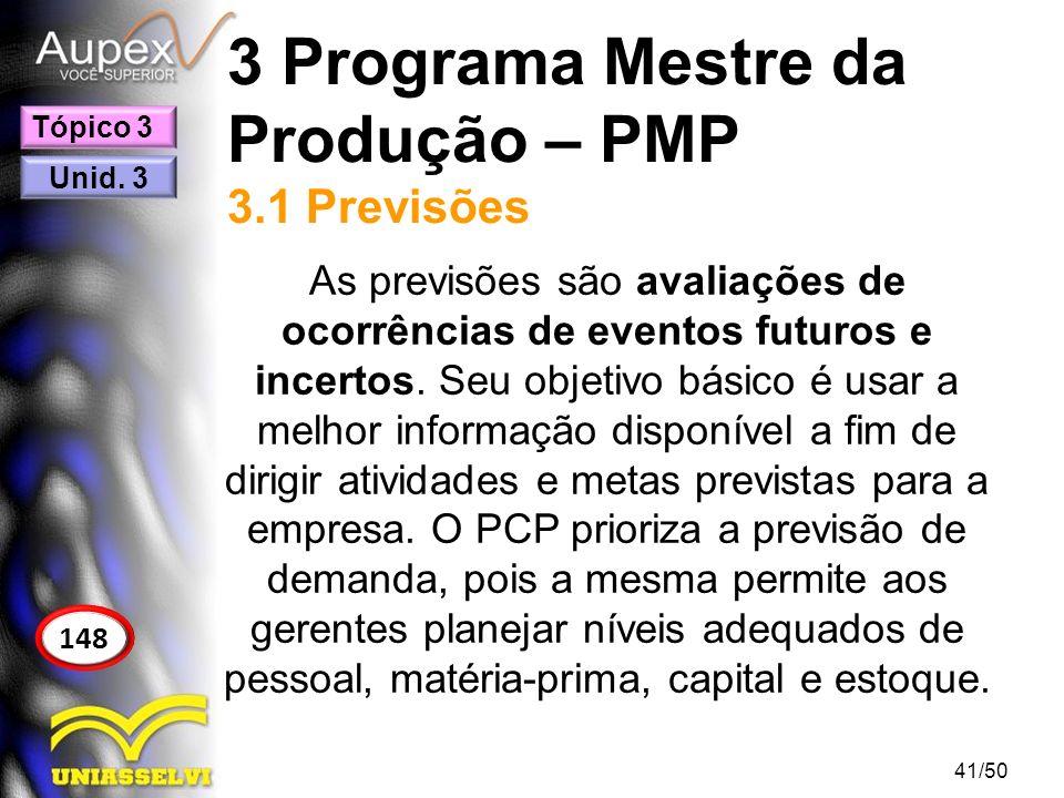 3 Programa Mestre da Produção – PMP 3.1 Previsões As previsões são avaliações de ocorrências de eventos futuros e incertos. Seu objetivo básico é usar