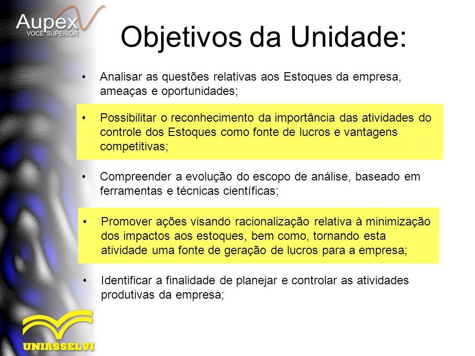 Objetivos da Unidade: Analisar as questões relativas aos Estoques da empresa, ameaças e oportunidades; Possibilitar o reconhecimento da importância da