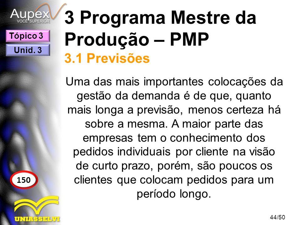 3 Programa Mestre da Produção – PMP 3.1 Previsões Uma das mais importantes colocações da gestão da demanda é de que, quanto mais longa a previsão, men