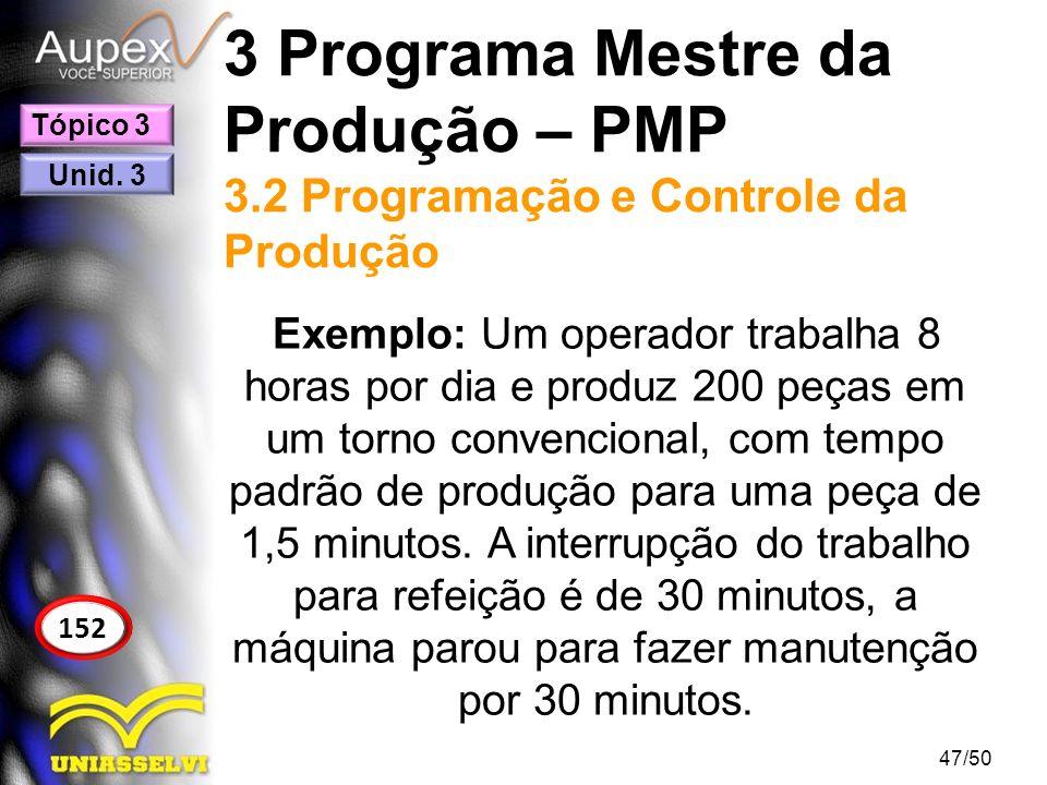 3 Programa Mestre da Produção – PMP 3.2 Programação e Controle da Produção Exemplo: Um operador trabalha 8 horas por dia e produz 200 peças em um torn