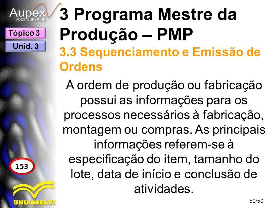 3 Programa Mestre da Produção – PMP 3.3 Sequenciamento e Emissão de Ordens A ordem de produção ou fabricação possui as informações para os processos n