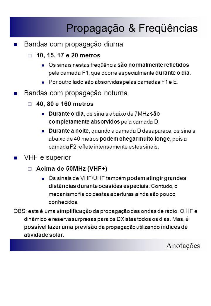 Anotações Propagação & Freqüências Bandas com propagação diurna 10, 15, 17 e 20 metros Os sinais nestas freqüência são normalmente refletidos pela cam