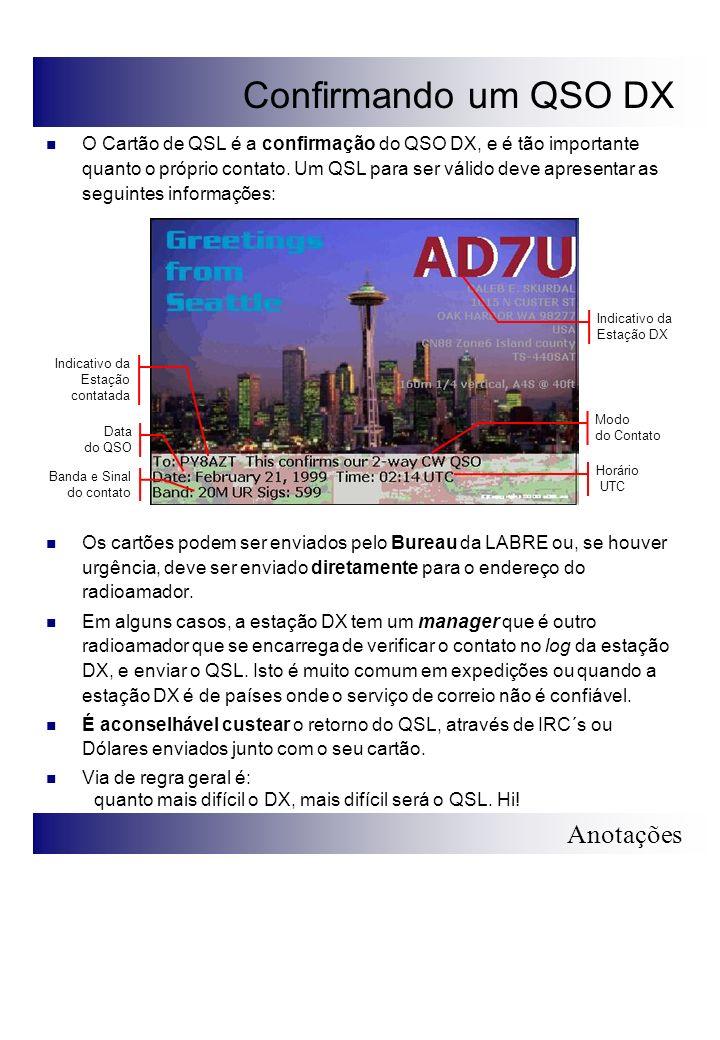 Anotações Confirmando um QSO DX O Cartão de QSL é a confirmação do QSO DX, e é tão importante quanto o próprio contato. Um QSL para ser válido deve ap