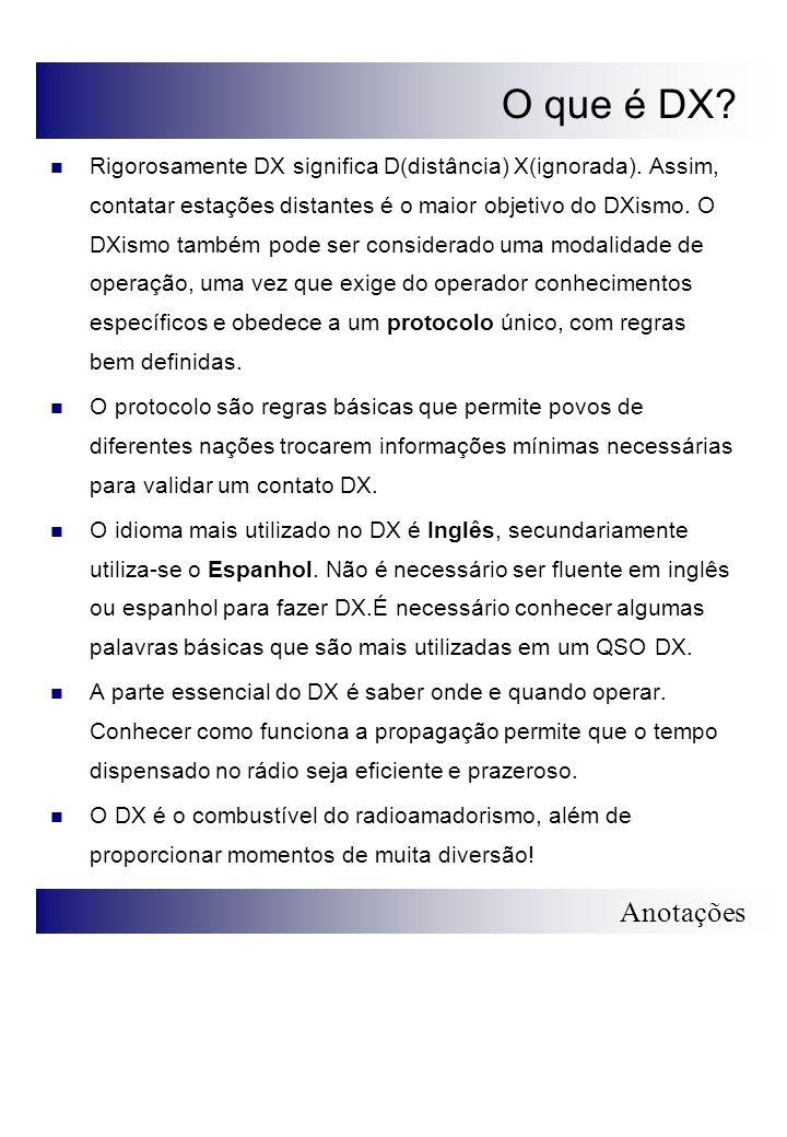 Anotações QSO DX em Português Para um QSO ser válido as seguintes informações dever trocadas: Indicativo das Estações Intensidade dos sinais Modelo de QSO DX padrão em Português: Chamada Geral CQ CQ DX, PY8AZT PY8AZT, chamando DX, roger.