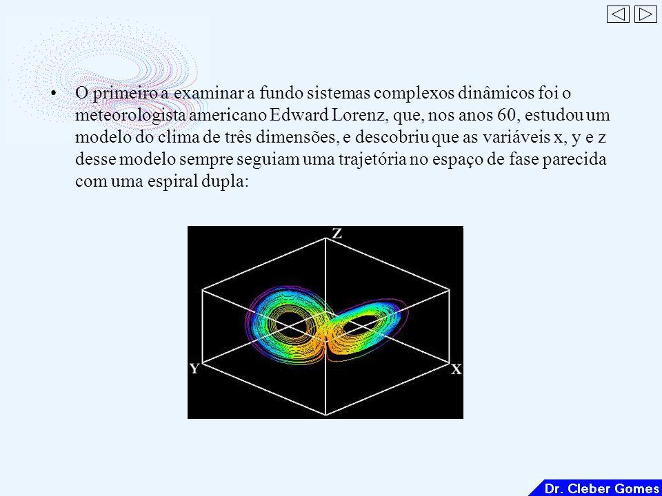 O primeiro a examinar a fundo sistemas complexos dinâmicos foi o meteorologista americano Edward Lorenz, que, nos anos 60, estudou um modelo do clima de três dimensões, e descobriu que as variáveis x, y e z desse modelo sempre seguiam uma trajetória no espaço de fase parecida com uma espiral dupla: