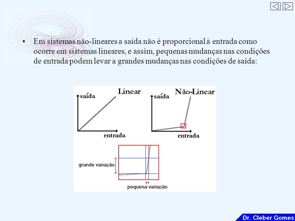 Em sistemas não-lineares a saída não é proporcional à entrada como ocorre em sistemas lineares, e assim, pequenas mudanças nas condições de entrada podem levar a grandes mudanças nas condições de saída: