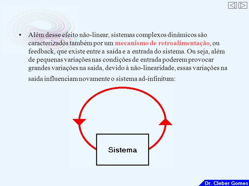Além desse efeito não-linear, sistemas complexos dinâmicos são caracterizados também por um mecanismo de retroalimentação, ou feedback, que existe entre a saída e a entrada do sistema.