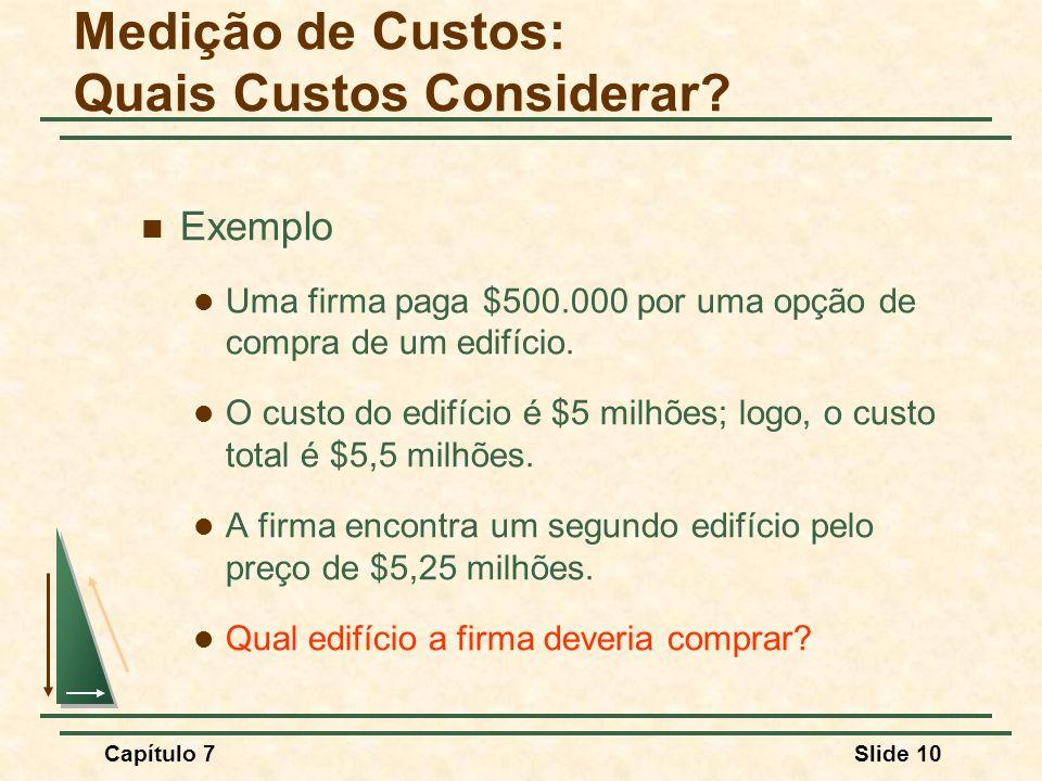 Capítulo 7Slide 10 Exemplo Uma firma paga $500.000 por uma opção de compra de um edifício. O custo do edifício é $5 milhões; logo, o custo total é $5,