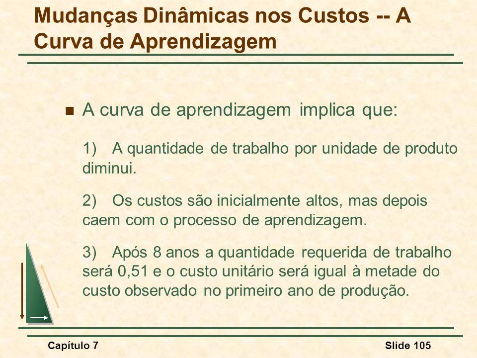 Capítulo 7Slide 105 A curva de aprendizagem implica que: 1) A quantidade de trabalho por unidade de produto diminui. 2)Os custos são inicialmente alto