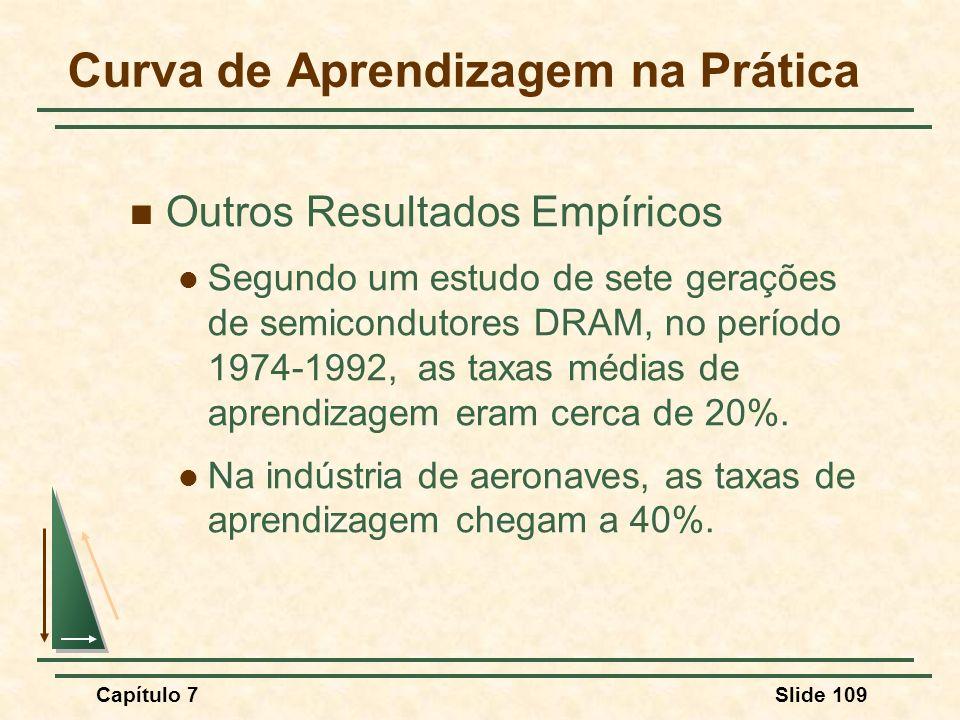 Capítulo 7Slide 109 Outros Resultados Empíricos Segundo um estudo de sete gerações de semicondutores DRAM, no período 1974-1992, as taxas médias de ap