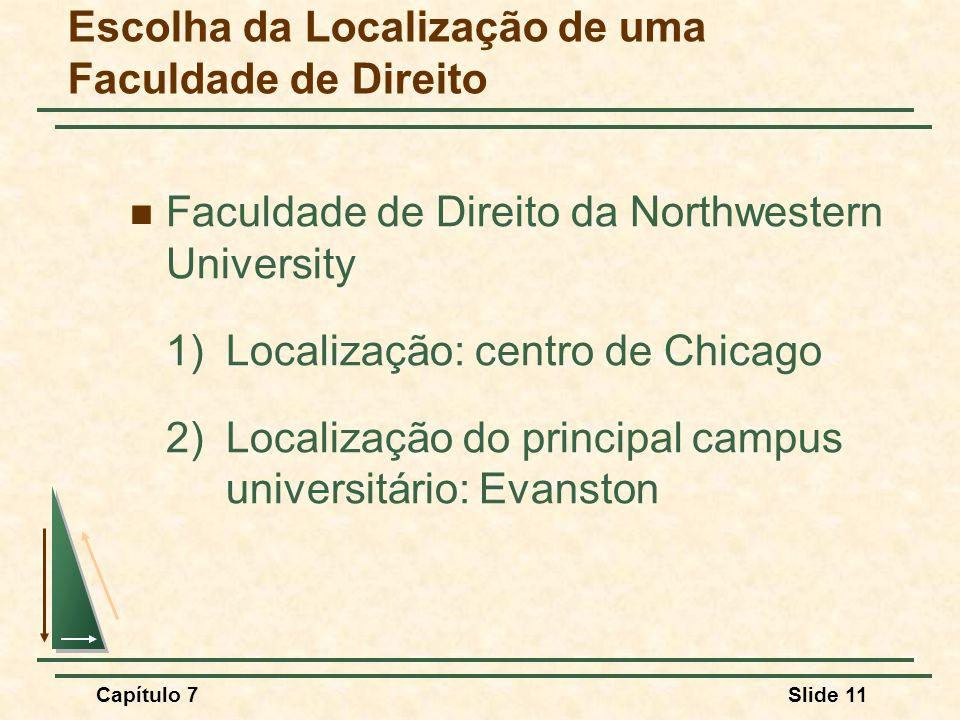 Capítulo 7Slide 11 Escolha da Localização de uma Faculdade de Direito Faculdade de Direito da Northwestern University 1) Localização: centro de Chicag