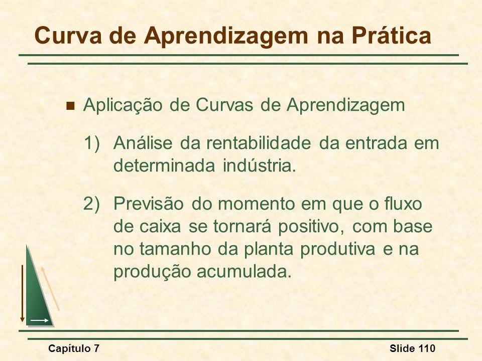 Capítulo 7Slide 110 Aplicação de Curvas de Aprendizagem 1) Análise da rentabilidade da entrada em determinada indústria. 2)Previsão do momento em que