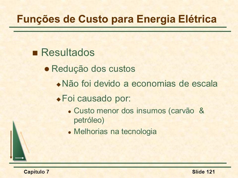 Capítulo 7Slide 121 Funções de Custo para Energia Elétrica Resultados Redução dos custos Não foi devido a economias de escala Foi causado por: Custo m