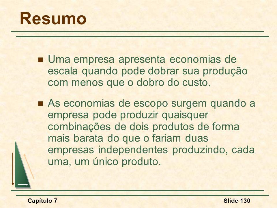 Capítulo 7Slide 130 Resumo Uma empresa apresenta economias de escala quando pode dobrar sua produção com menos que o dobro do custo. As economias de e