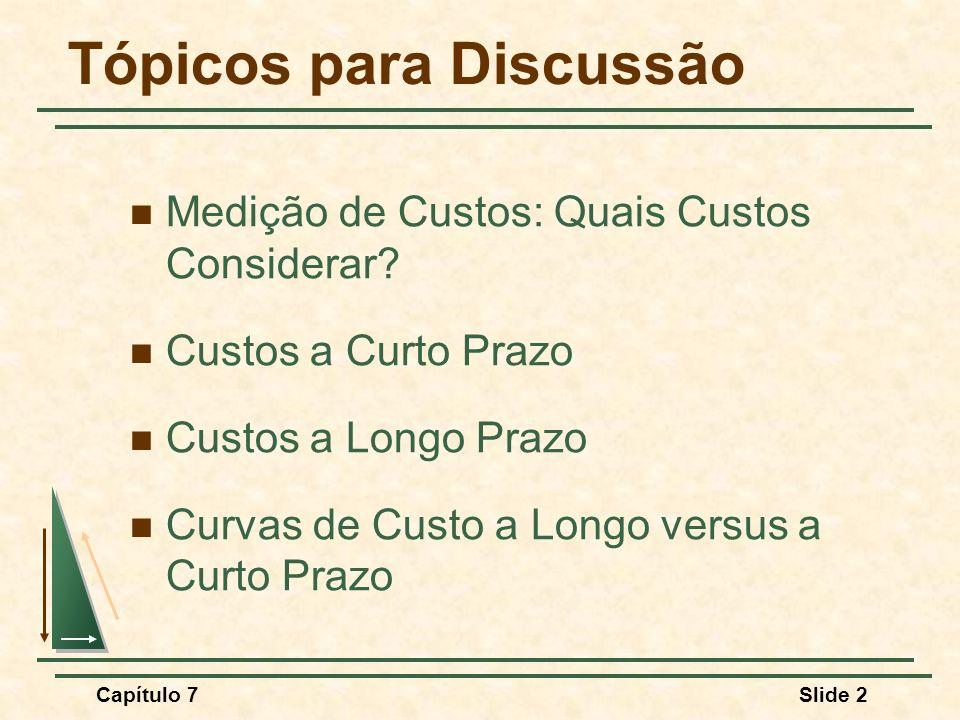 Capítulo 7Slide 2 Tópicos para Discussão Medição de Custos: Quais Custos Considerar? Custos a Curto Prazo Custos a Longo Prazo Curvas de Custo a Longo