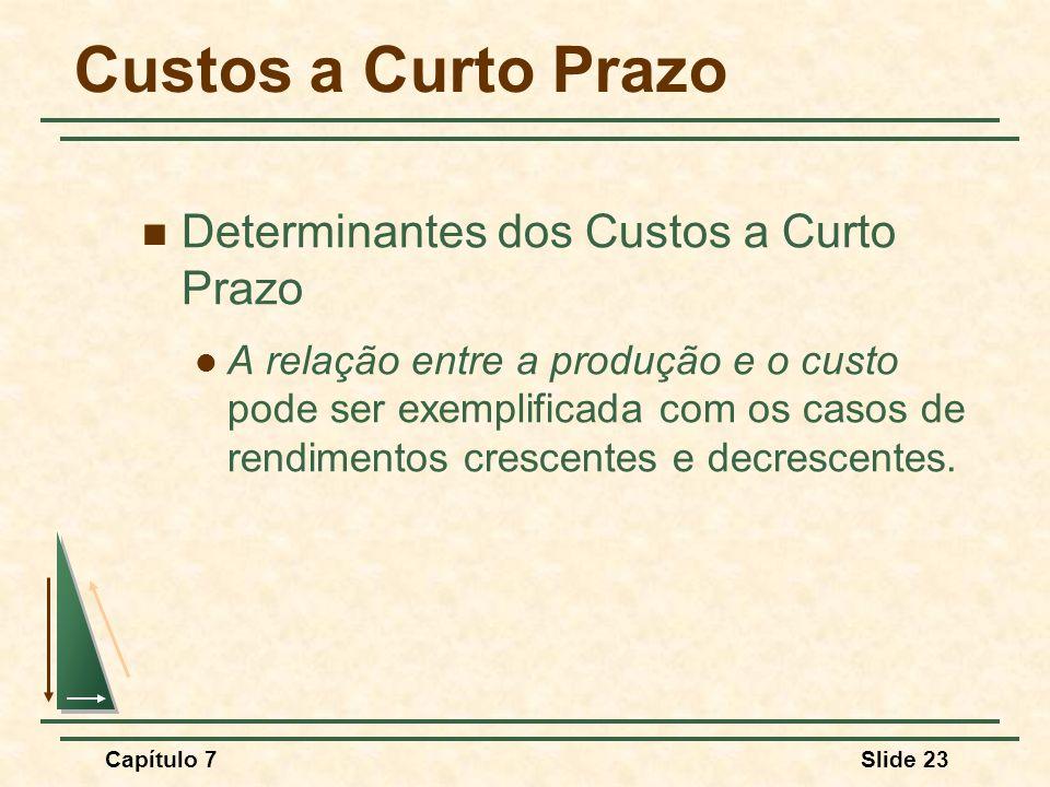 Capítulo 7Slide 23 Custos a Curto Prazo Determinantes dos Custos a Curto Prazo A relação entre a produção e o custo pode ser exemplificada com os caso