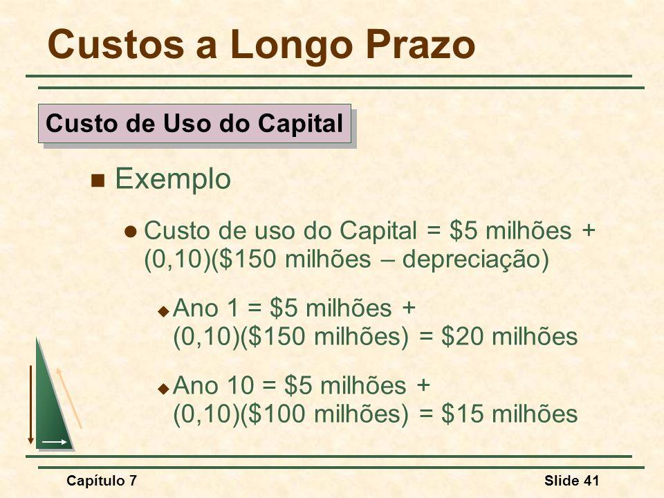 Capítulo 7Slide 41 Custos a Longo Prazo Exemplo Custo de uso do Capital = $5 milhões + (0,10)($150 milhões – depreciação) Ano 1 = $5 milhões + (0,10)(