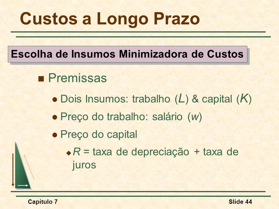 Capítulo 7Slide 44 Custos a Longo Prazo Premissas Dois Insumos: trabalho ( L ) & capital ( K ) Preço do trabalho: salário (w) Preço do capital R = tax