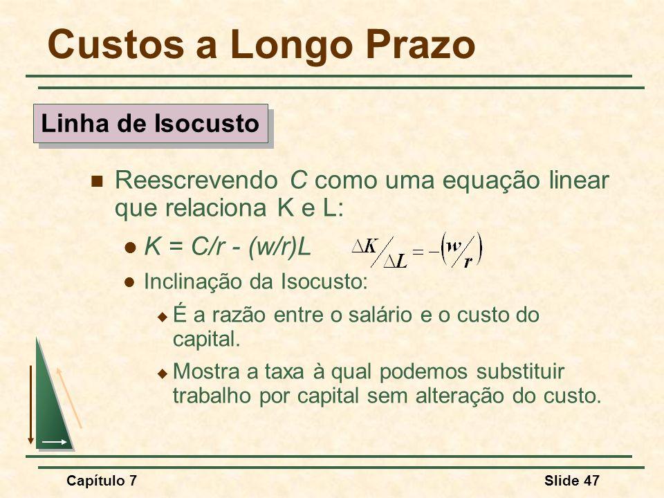 Capítulo 7Slide 47 Custos a Longo Prazo Reescrevendo C como uma equação linear que relaciona K e L: K = C/r - (w/r)L Inclinação da Isocusto: É a razão
