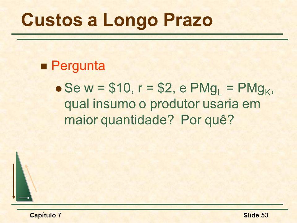 Capítulo 7Slide 53 Custos a Longo Prazo Pergunta Se w = $10, r = $2, e PMg L = PMg K, qual insumo o produtor usaria em maior quantidade? Por quê?