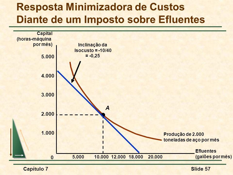 Capítulo 7Slide 57 Resposta Minimizadora de Custos Diante de um Imposto sobre Efluentes Efluentes (galões por mês) Capital (horas-máquina por mês) Pro