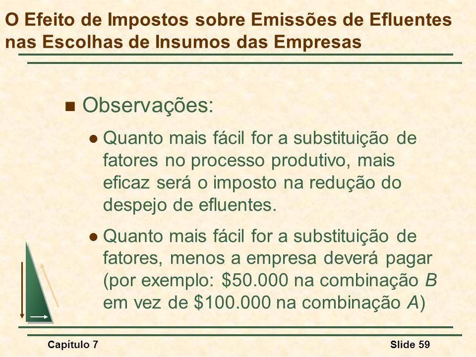 Capítulo 7Slide 59 Observações: Quanto mais fácil for a substituição de fatores no processo produtivo, mais eficaz será o imposto na redução do despej