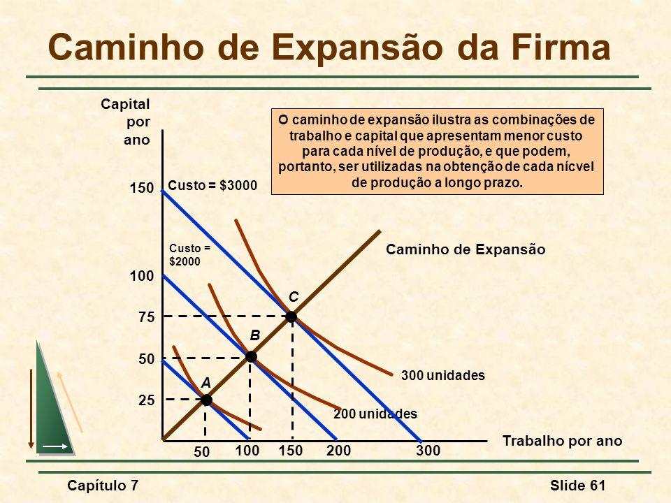 Capítulo 7Slide 61 Caminho de Expansão da Firma Trabalho por ano Capital por ano Caminho de Expansão O caminho de expansão ilustra as combinações de t