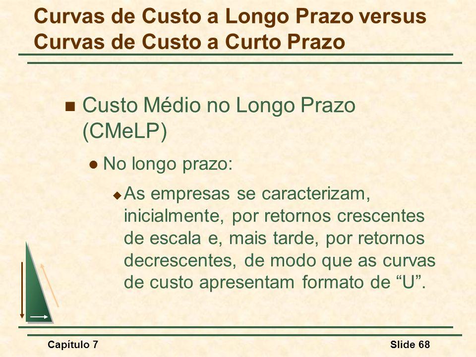 Capítulo 7Slide 68 Custo Médio no Longo Prazo (CMeLP) No longo prazo: As empresas se caracterizam, inicialmente, por retornos crescentes de escala e,