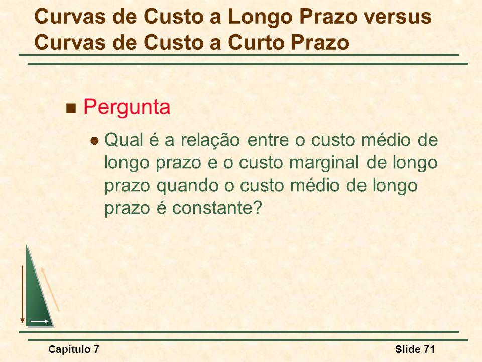 Capítulo 7Slide 71 Pergunta Qual é a relação entre o custo médio de longo prazo e o custo marginal de longo prazo quando o custo médio de longo prazo