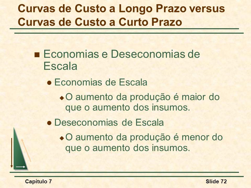 Capítulo 7Slide 72 Economias e Deseconomias de Escala Economias de Escala O aumento da produção é maior do que o aumento dos insumos. Deseconomias de