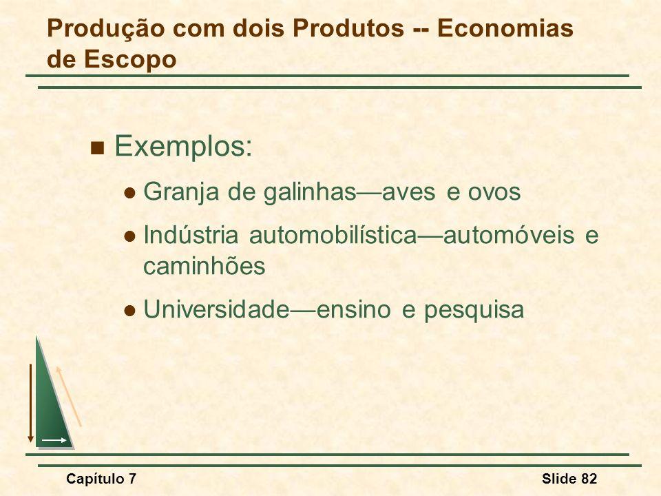 Capítulo 7Slide 82 Produção com dois Produtos -- Economias de Escopo Exemplos: Granja de galinhasaves e ovos Indústria automobilísticaautomóveis e cam