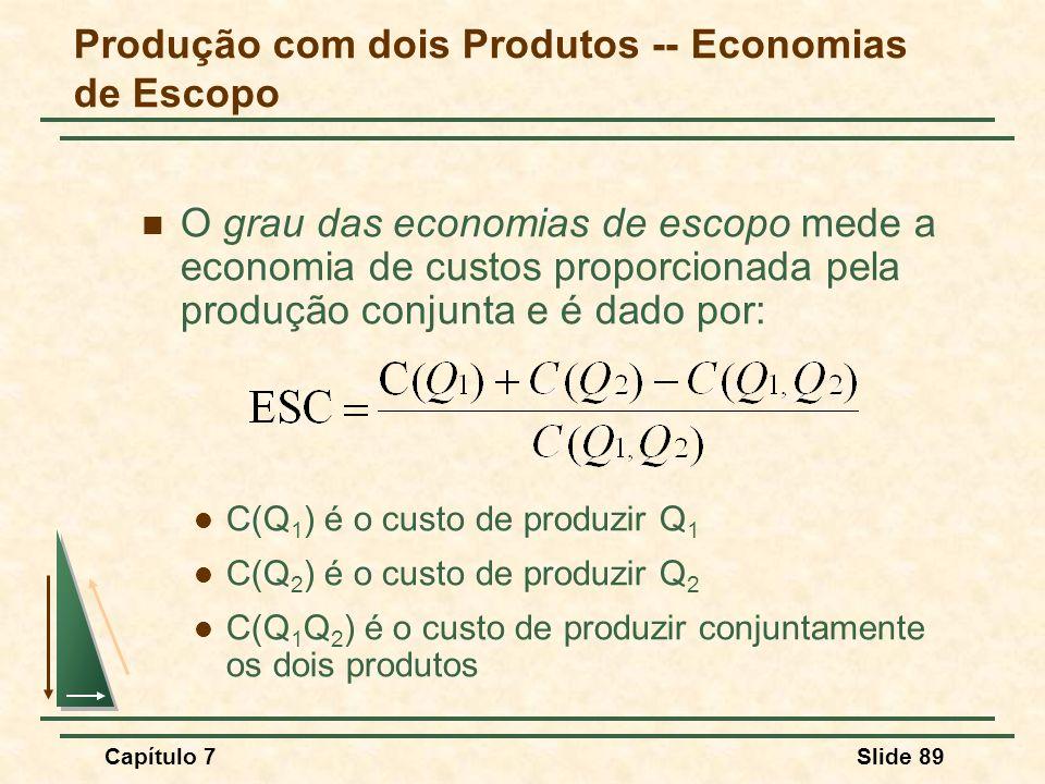 Capítulo 7Slide 89 O grau das economias de escopo mede a economia de custos proporcionada pela produção conjunta e é dado por: C(Q 1 ) é o custo de pr