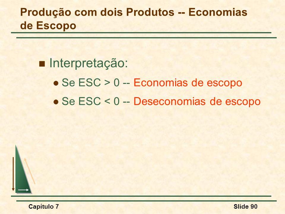 Capítulo 7Slide 90 Interpretação: Se ESC > 0 -- Economias de escopo Se ESC < 0 -- Deseconomias de escopo Produção com dois Produtos -- Economias de Es
