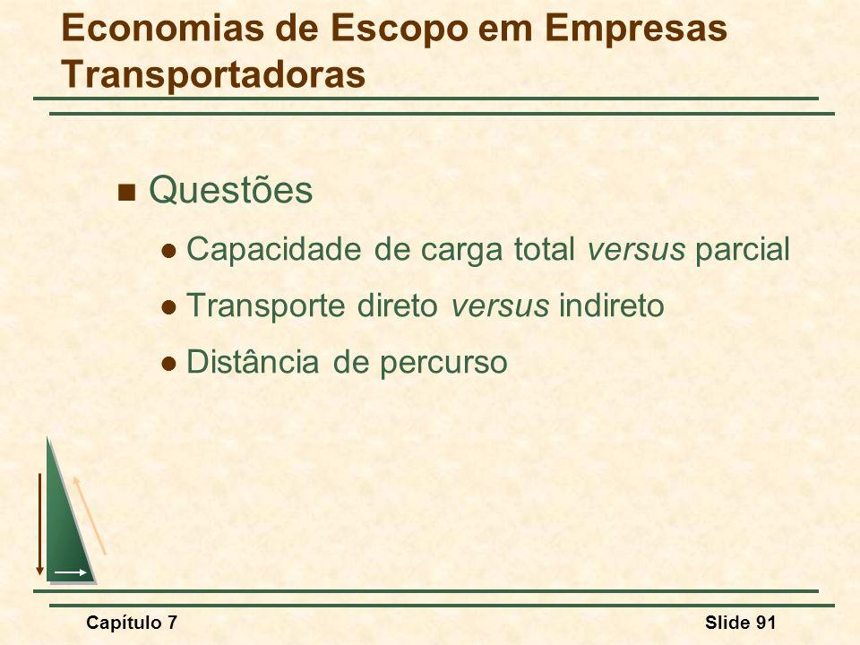 Capítulo 7Slide 91 Economias de Escopo em Empresas Transportadoras Questões Capacidade de carga total versus parcial Transporte direto versus indireto