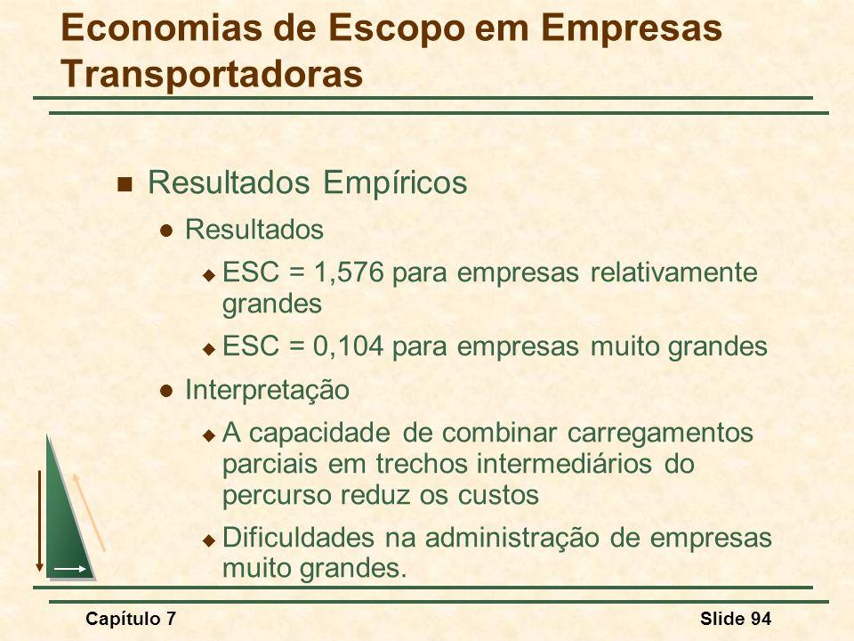 Capítulo 7Slide 94 Resultados Empíricos Resultados ESC = 1,576 para empresas relativamente grandes ESC = 0,104 para empresas muito grandes Interpretaç