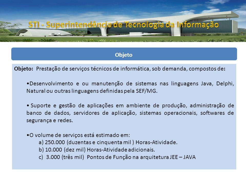 Objeto Objeto: Prestação de serviços técnicos de informática, sob demanda, compostos de: Desenvolvimento e ou manutenção de sistemas nas linguagens Java, Delphi, Natural ou outras linguagens definidas pela SEF/MG.