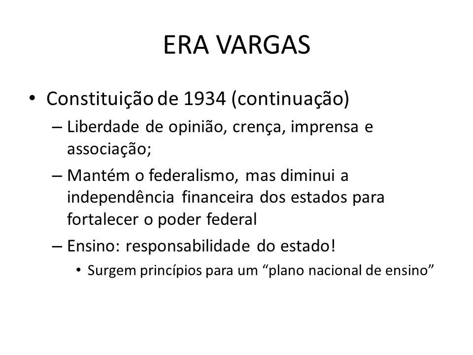 ERA VARGAS Constituição de 1934 (continuação) – Liberdade de opinião, crença, imprensa e associação; – Mantém o federalismo, mas diminui a independênc