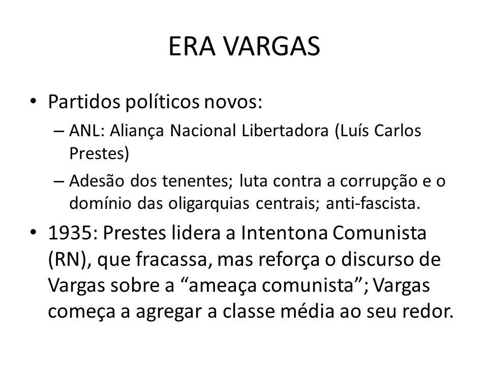 ERA VARGAS Partidos políticos novos: – ANL: Aliança Nacional Libertadora (Luís Carlos Prestes) – Adesão dos tenentes; luta contra a corrupção e o domí