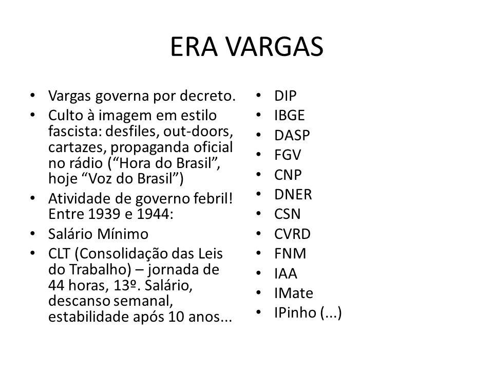 ERA VARGAS Vargas governa por decreto. Culto à imagem em estilo fascista: desfiles, out-doors, cartazes, propaganda oficial no rádio (Hora do Brasil,