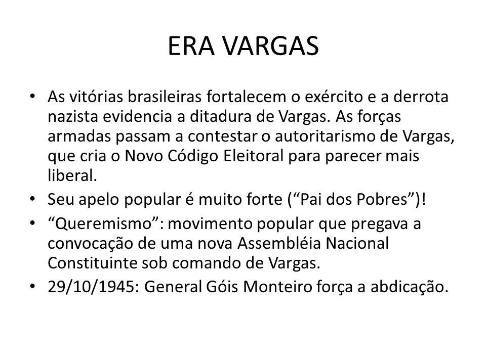 ERA VARGAS As vitórias brasileiras fortalecem o exército e a derrota nazista evidencia a ditadura de Vargas. As forças armadas passam a contestar o au