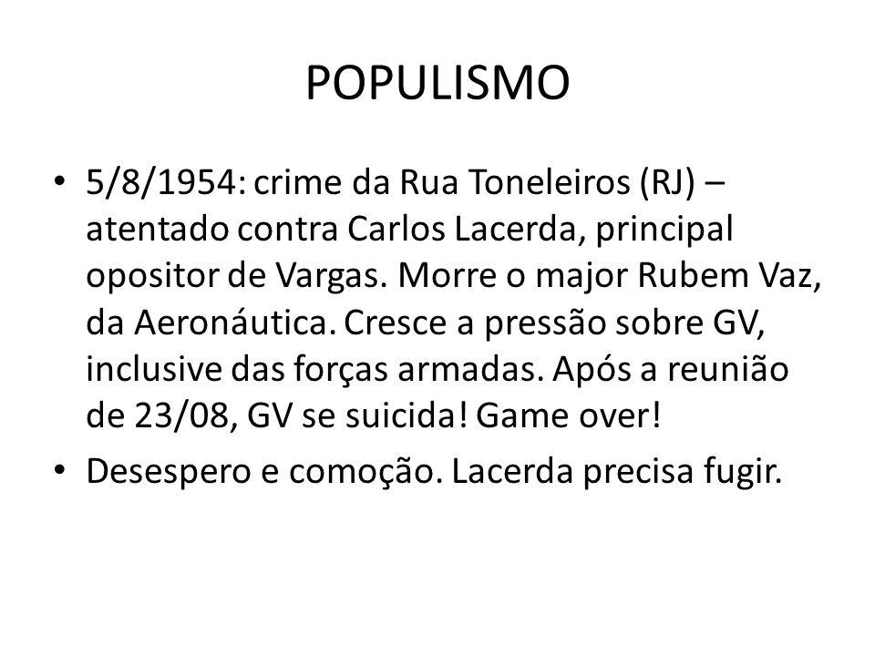 POPULISMO 5/8/1954: crime da Rua Toneleiros (RJ) – atentado contra Carlos Lacerda, principal opositor de Vargas. Morre o major Rubem Vaz, da Aeronáuti