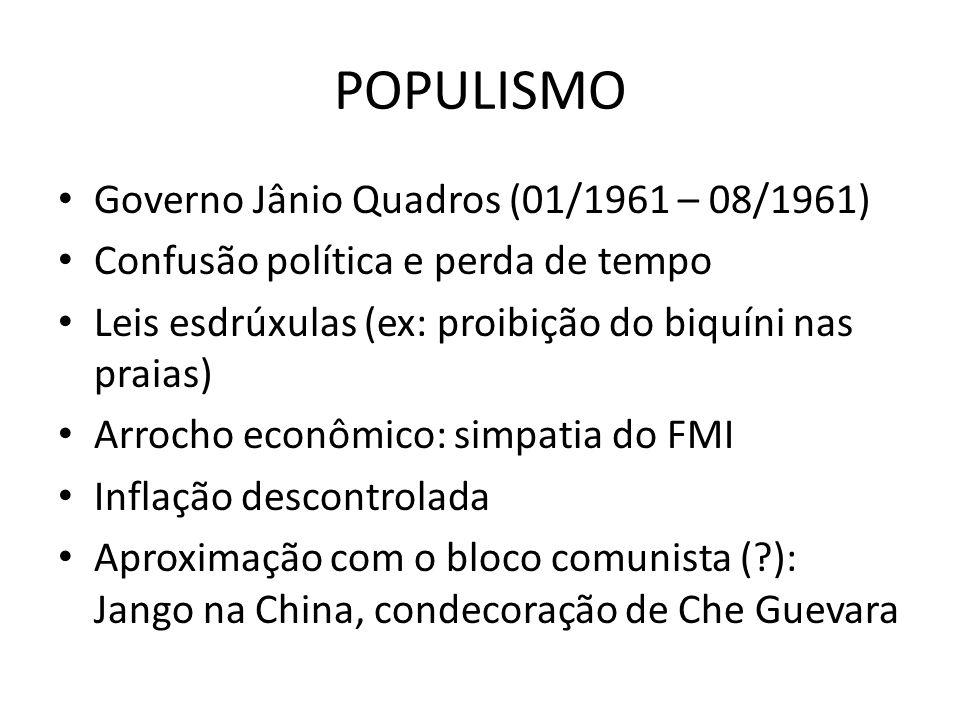 POPULISMO Governo Jânio Quadros (01/1961 – 08/1961) Confusão política e perda de tempo Leis esdrúxulas (ex: proibição do biquíni nas praias) Arrocho e