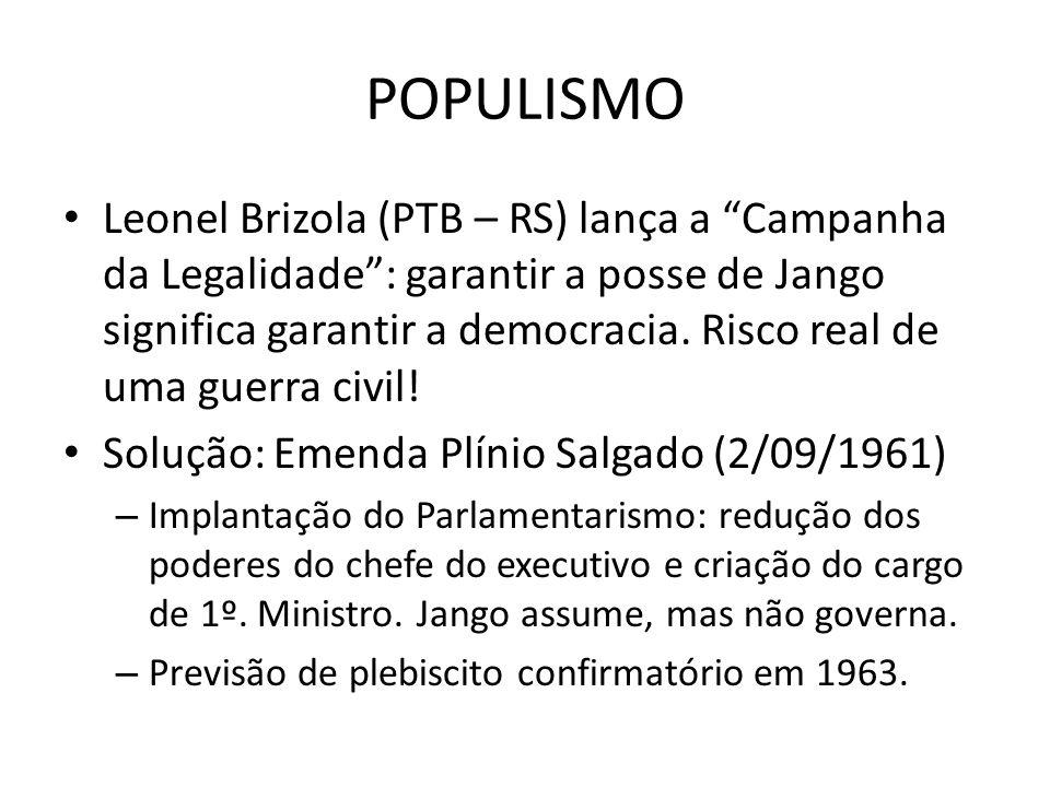 POPULISMO Leonel Brizola (PTB – RS) lança a Campanha da Legalidade: garantir a posse de Jango significa garantir a democracia. Risco real de uma guerr