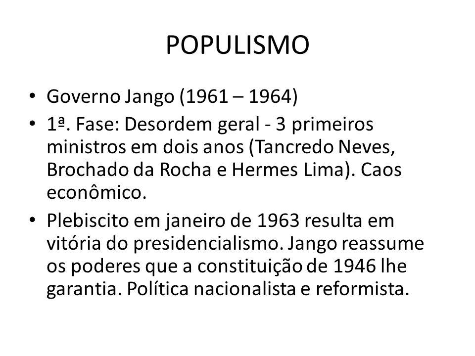 POPULISMO Governo Jango (1961 – 1964) 1ª. Fase: Desordem geral - 3 primeiros ministros em dois anos (Tancredo Neves, Brochado da Rocha e Hermes Lima).