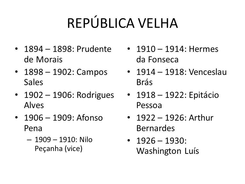 REPÚBLICA VELHA 1894 – 1898: Prudente de Morais 1898 – 1902: Campos Sales 1902 – 1906: Rodrigues Alves 1906 – 1909: Afonso Pena – 1909 – 1910: Nilo Pe
