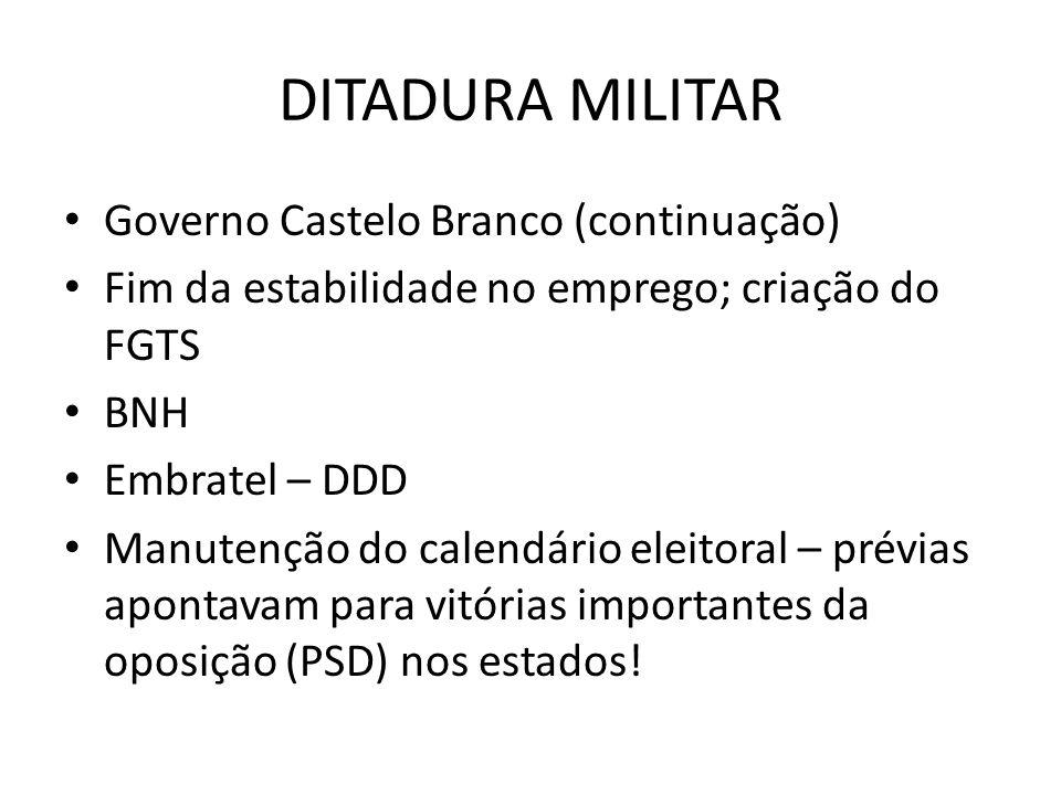 DITADURA MILITAR Governo Castelo Branco (continuação) Fim da estabilidade no emprego; criação do FGTS BNH Embratel – DDD Manutenção do calendário elei