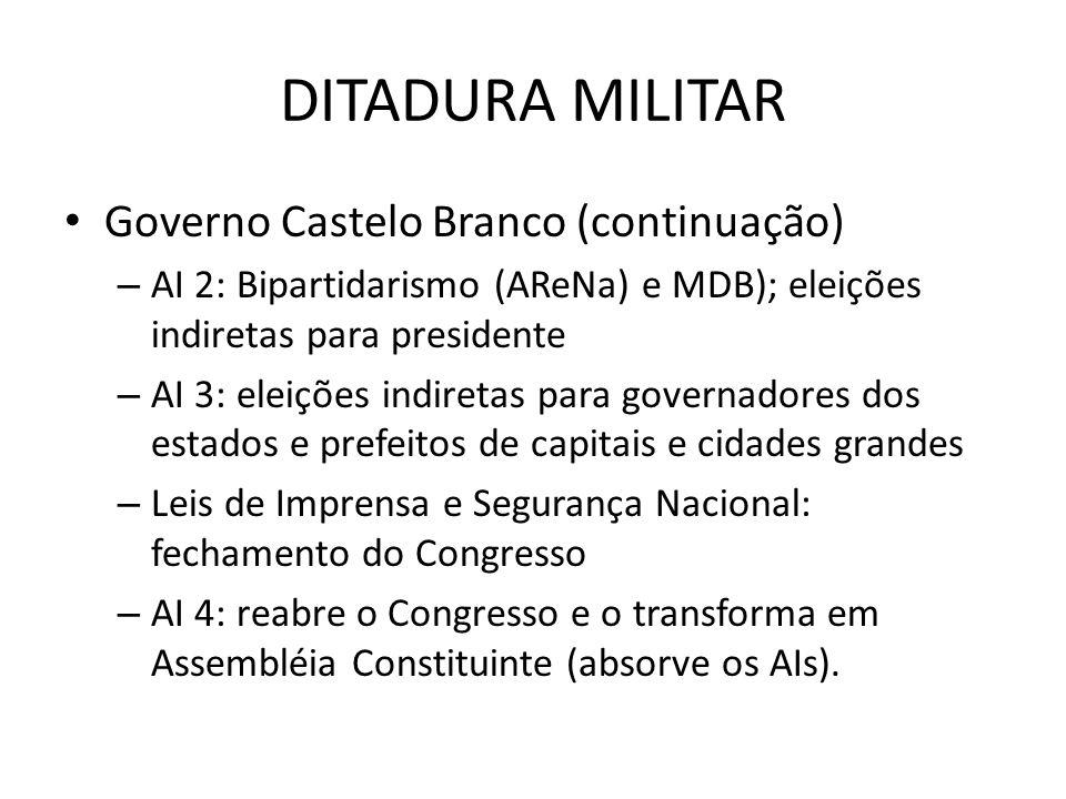 DITADURA MILITAR Governo Castelo Branco (continuação) – AI 2: Bipartidarismo (AReNa) e MDB); eleições indiretas para presidente – AI 3: eleições indir