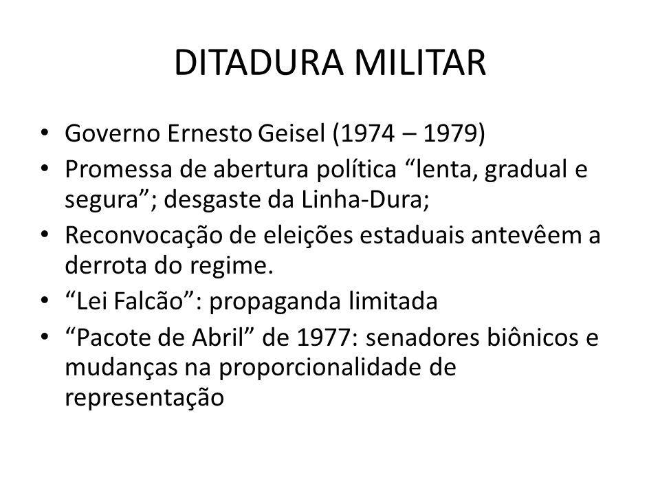 DITADURA MILITAR Governo Ernesto Geisel (1974 – 1979) Promessa de abertura política lenta, gradual e segura; desgaste da Linha-Dura; Reconvocação de e