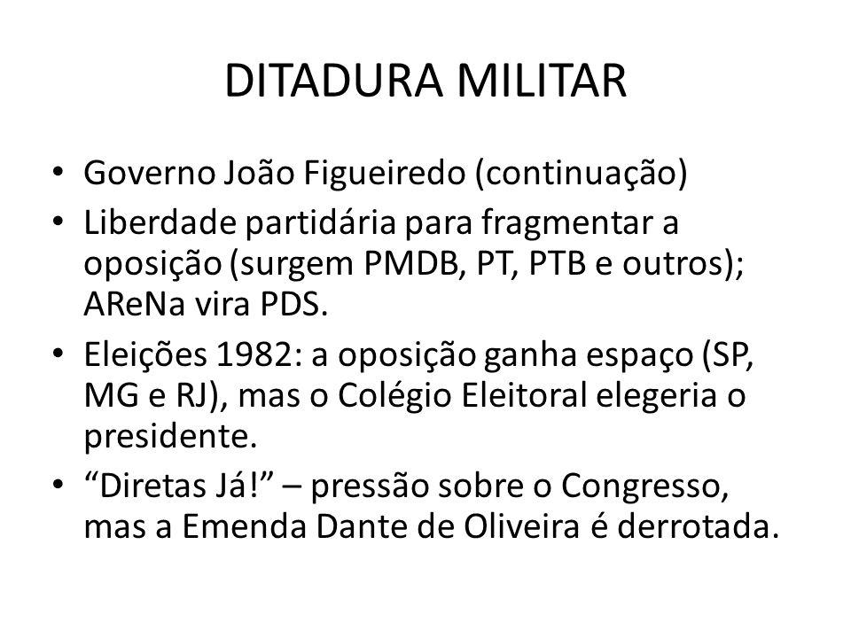 DITADURA MILITAR Governo João Figueiredo (continuação) Liberdade partidária para fragmentar a oposição (surgem PMDB, PT, PTB e outros); AReNa vira PDS