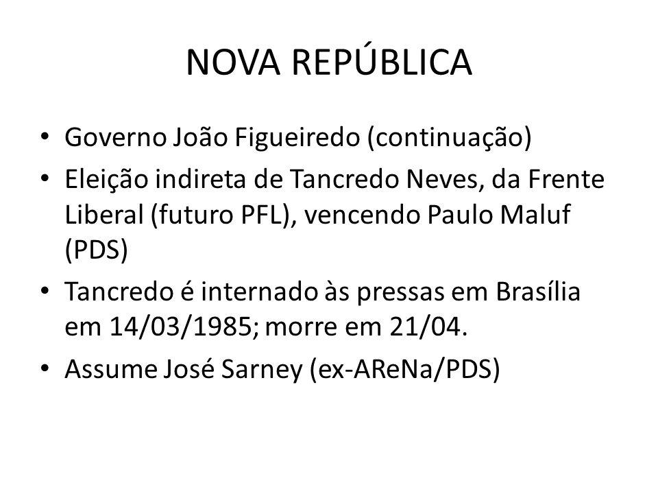 NOVA REPÚBLICA Governo João Figueiredo (continuação) Eleição indireta de Tancredo Neves, da Frente Liberal (futuro PFL), vencendo Paulo Maluf (PDS) Ta